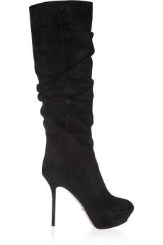 Sergio Rossi Ruched suede knee boots | THE OUTNET