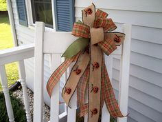 XL Halloween Bow for Wreath Post Door Mailbox Plaid Ribbon Burlap with Stitched Pumpkins Ribbon Green Ribbon by PatriciasFlorals on Etsy