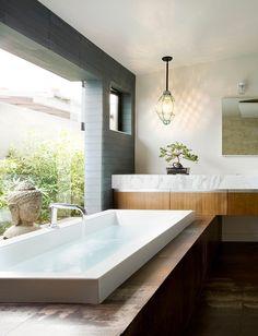 Zen Bathroom Design Ideas, Pictures, Remodel, and Decor Home, Contemporary Bathrooms, Zen Bathroom, Beautiful Bathrooms, House, Modern Baths, Bathroom Retreat, Bathroom Design, Contemporary Bathroom