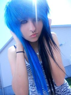 Fabulous Blue Tips Blue And And Emo On Pinterest Short Hairstyles Gunalazisus