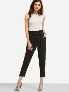 Black Pockets Tie Waist Pants