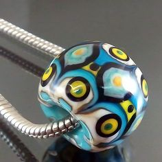 PIKALDA=handmade lampwork 1 charm bead big hole line colorful=BLUE ANCIENT=SRA