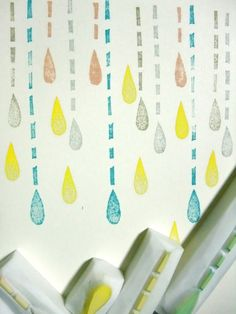 RAIN hand carved rubber stamp drops set 5pcs by talktothesun