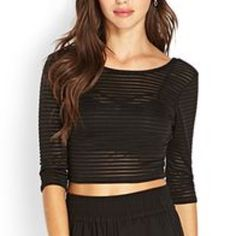 Forever 21 Mesh Crop Top Long Sleeve✅ Stripped Mesh✅ New✅ Fast Shipping✅ Forever 21 Tops Crop Tops