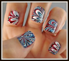 marble dotticure amazing 4th july patriotic psychdelic red white blue flag nail art manicure top coat