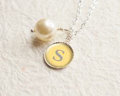 Personalized Necklace Silver Initial Necklace by petiteVanilla