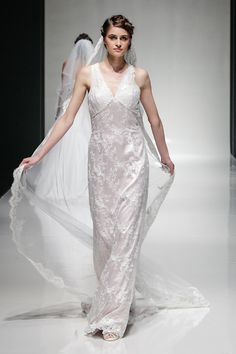 'Latona' from Madeline Isaac-James' new diffusion label 'Maddy' - lace gown available in ivory or blush. www.maddybridal.com www.madelineisaacjames.com