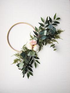 Modern Peony + Eucalyptus Asymmetrical Hoop Wreath Wedding