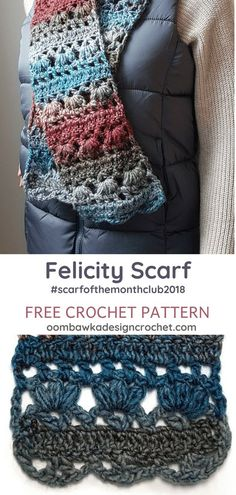 Scarf of the Month Club 2018 August Crochet Stricken , Felicity Scarf Pattern. Scarf of the Month Club 2018 August Felicity Scarf Pattern by Oombawka Design Crochet. Scarf of the Month Club 2018 PIN Croche. Crochet Motifs, Crochet Shawl, Crochet Yarn, Crochet Stitches, Knit Cowl, Crochet Scarf Diagram, Crochet Vests, Knit Dishcloth, Crochet Granny