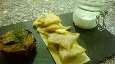 Barattolino di burrata accompagnato da caponata di melanzane e pinzini Burrata cheese in a jar with eggplant and fried bread