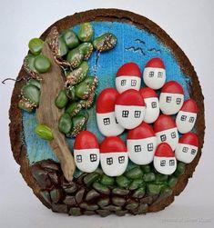 Композиции из гальки - разных авторов Pebble Painting, Stone Painting, Diy Painting, Pebble Stone, Stone Art, Pebble Art Family, Diy And Crafts, Arts And Crafts, Rock And Pebbles