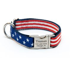 """Rita Bean Engraved Buckle Personalized Dog Collar - Red, White & Bark! This adorable dog collar by the designers at Rita Bean features an elegant pattern that shows American pride. The brushed metal buckle can be personalized with three lines of laser engraved information.  Made in America with the utmost quality materials, this is a collar that you (and your dog) will cherish. All collars are 1"""" wide."""