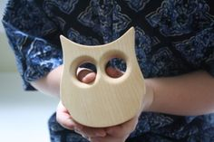 This Little Alouette Owl Teething Toy is handmade with love in Ohio of locally sourced hardwoods and, if not left unfinished, are finished only with certified organic flax seed oil. $15.00