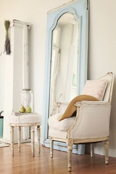 mirror, chair, the doors, dreamy whites, blue doors, shabby chic, old doors, baby blues, bedroom