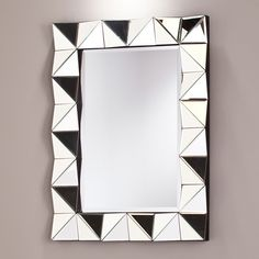 Pollyanna Decorative Mirror - Southern Enterprises at life from a fresh angle with this multifaceted, rectangular mirror. The glittering, glamourous frame of the mirror is composed of triangular mirrored tiles with angled dimensionality, creati Mirror Tiles, Beveled Mirror, Wall Mirror, Mirrors, True Homes, Vertical Or Horizontal, Frames On Wall, Accent Pieces, Contemporary Style