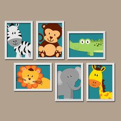 BOY Animal Wall Art Boy Animal Nursery CanvasJungle by TRMdesign