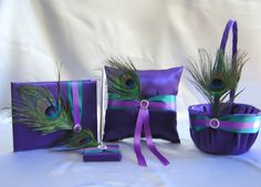 Peacock Feather Purple Teal Flower Girl Basket Ring Pillow Guest Book Pen Set Your Colors. $99.99, via Etsy.