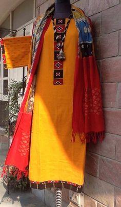 Kalamkari dupatta and handloom cotton kurta by www.facebook.com/orangeblossomwomensclothing