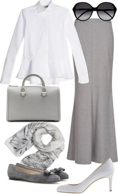 Grey maxi skirt, white shirt, and denim jacket...Cute Spring/Summer outfit, with different shoes