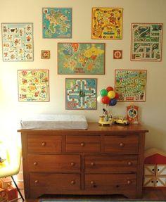 Vintage board games as kids playroom wall art.