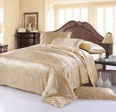 Silk sheets bedding set Luxury beige paisley queen king size double doona duvet cover bedspread bed in a bag bedroom quilt linen Silk Sheets, Flat Sheets, Bed Sheets, Cheap Bedding Sets, Silk Bedding, Bed In A Bag, Textiles, Home Textile, Bed Spreads