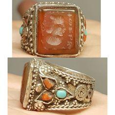 Silver wonderful Lovely Ring old Roman Agate intaglio Stone # Z   eBay