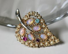 Vintage Faux Pearl Faux Opal and Rhinestone Leaf by SpruceCove