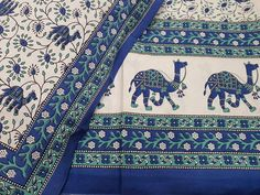 Untitled Persian Blue, Suits For Sale, Green Print, White Fabrics, Queen Size, Bed Sheets, White Cotton, Printed Cotton, Pillow Covers