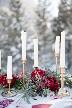 Pine Needle and Red Floral Table Garland | This would be great for Game of...photography by http://brookebakken.com
