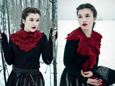 Etsy. This Lace Knitted Victorian Scarf is made of a very soft merino yarn in a dark cherry red. Wearable in different styles as collar, capelet or scarf, with a brooch made of two beaded flowers. $95 #accessories #scarf #victorian #vintage #knitting #crochet #ruby #red #etsy #shawl #lace