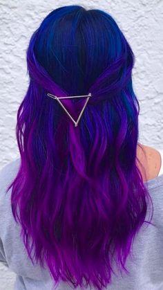 Pretty Hair Color, Beautiful Hair Color, Hair Color Purple, Color For Hair, Black To Purple Hair, Purple Hair Styles, Blonde Hair With Blue Tips, Short Hair Colors, Unique Hair Color