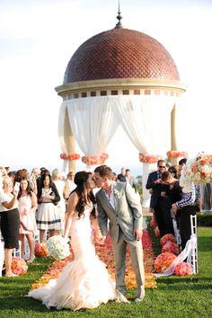 Coral Wedding | Photography: Gavin Wade Photographers  - gavinwadephoto.com | #Coral #Weddings Read More: http://www.stylemepretty.com/california-weddings/2015/02/02/sunset-inspired-newport-wedding/