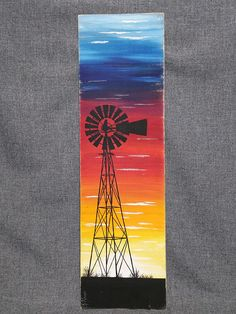 Your place to buy and sell all things handmade Sunset Acrylic Painting, Sunset Paintings, Sunset Canvas, Sunset Art, Windmill Drawing, Windmill Tattoo, Windmill Art, Pallet Wall Art, Pallet Painting