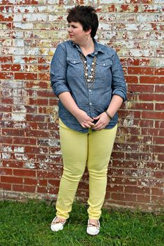 Hems for Her Trendy Plus Size Fashion for Women: Yellow Pants: Sunshine on a Cloudy Day