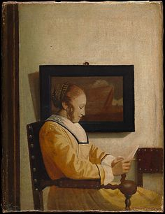 A Young Woman Reading  Imitator of Johannes Vermeer (about 1925–27)     Medium:      Oil on canvas  Dimensions:      7 3/4 x 5 3/4 in. (19.7 x 14.6 cm)  Classification:      Paintings  Credit Line:      The Jules Bache Collection, 1949  Accession Number:      49.7.40    This artwork is not on display