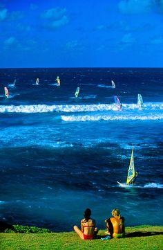 Windsurfing at Ho'okipa Beach, near Pa'ia, Maui, Hawaii, USA. Windsurfing must be Hawaii's state sport, at least that's the impression I have.
