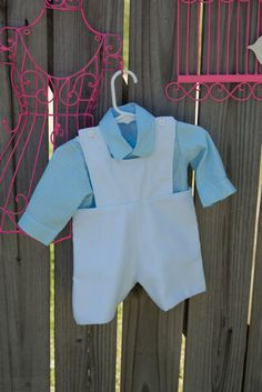 Sweet seersucker shortall with button down by TeenyBambiniCouture, $45.99