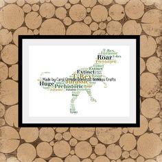 T-Rex Word Art Dinosaur Themed Print T-Rex by DomesticGoddessCraft