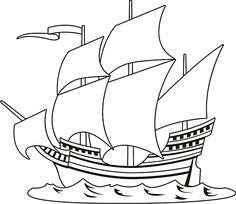 Free drawing of A Pirate Ship 3 BW from the category Boat