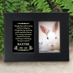 'Golden Memories' Personalized Pet Bunny Rabbit Memorial Picture Frame | EtchedInMyHeart.com | Satin Black Finish - $19.95