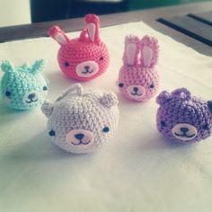 Party of 5: ready to go! :) amigurumi crochet keychains