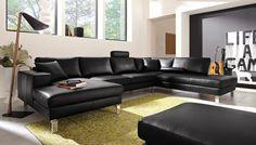 Čierna luxusná kožená sedacia súprava viac na http://www.calunenie-eddyart.sk/