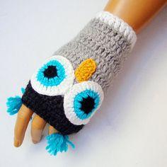 Hand Knit Owl Gloves Fingerless Gray Black Blue Owl by Pasin