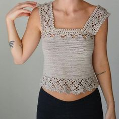 Aestas Is A Latin Word And Means 'Summer - maallure Crochet Halter Tops, Crochet Tunic, Crochet Crop Top, Cotton Crochet, Crochet Clothes, Crochet Woman, Top Pattern, Blouse Pattern Free, Beautiful Crochet