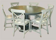 Pyöreä Rooma-pöytä maalattuna tummanharmaaksi (mörkgrå) Round table, solid wood