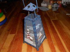 shoreline-Blue Metal Lighthouse Lantern Glass Painted Snow Scene Handle Twelve…