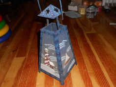 shopzall-Blue Metal Lighthouse Lantern Glass Painted Snow Scene Handle Twelve Inches Tall Original Box Candle Holder