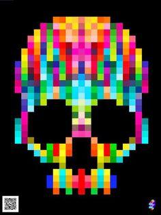 Creative Skull, Illustration, Print, and Colors image ideas & inspiration on Designspiration Foto Pixel, Motifs Perler, 8bit Art, Skull Design, Skull And Bones, Bead Art, Perler Beads, Beading Patterns, Henna Patterns
