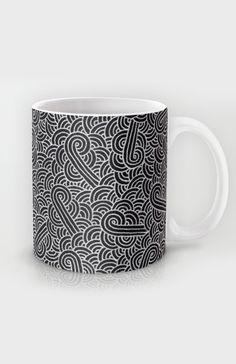 """Black and silver zentangles"" Mug by Savousepate on Society6 #mug #pattern #abstract #zentangles #doodles #scrolls #silver #grey #gray #black #blingbling"