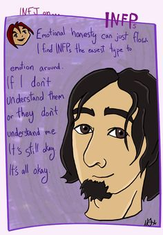 I'm close to two male INFPs, live with a female INFP and was working with another male INFP. In all those friendships I found emotional honesty was something that seemed to fall into place. I often hold back emotions because of only giving as much as people want, the INFPs I've met respect and want to see emotion. I like them because they don't try and problem solve my emotions or judge emotions as good or bad (I, typically kick into problem solving mode, rather than just letti